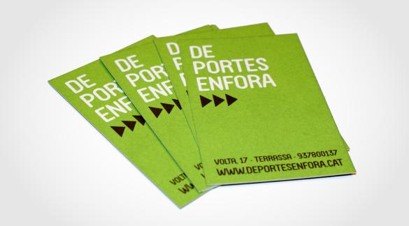 Targetes corporatives, De Portes Enfora, Logotip De Portes Enfora, imatge corporativa, imatge corporativa terrassa, disseny logo, disseny gràfic terrassa, estudi disseny gràfic