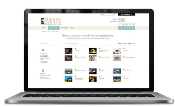 Optievents Herramienta web proveedores